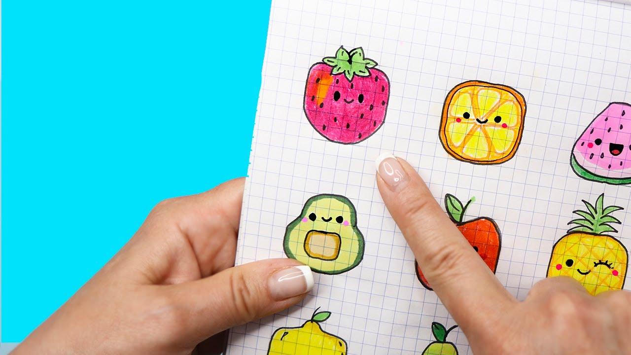 10 Квадратные ФРУКТЫ ПО КЛЕТОЧКАМ! Часть 6. Простые рисунки для детей