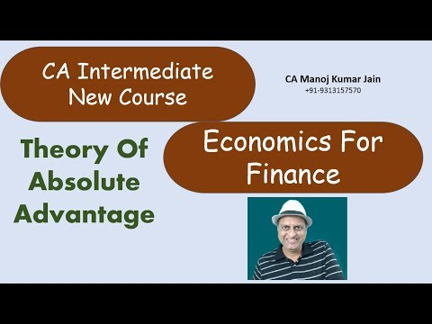Theory of Absolute Advantage By CA Manoj Kumar Jain. CA Intermediate Economics For Finance