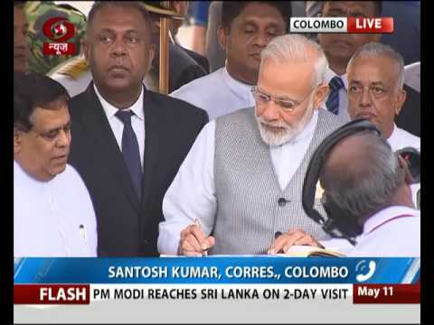 PM Modi arrives at Colombo airport on a two-day Sri Lanka visit