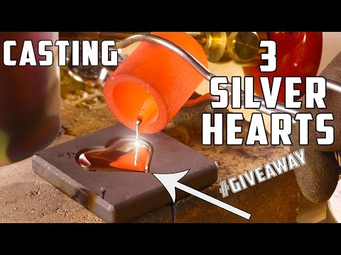 Casting 3 Real Silver Hearts