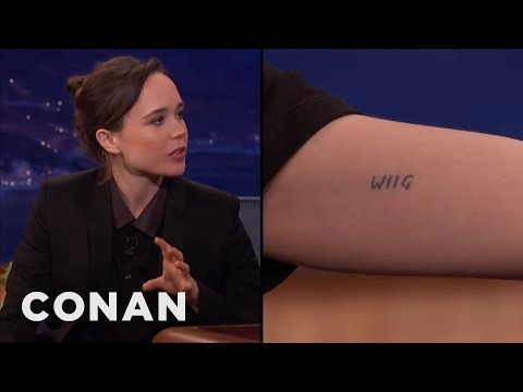 Ellen Page Has Kristen Wiig's Name Tattooed On Her Bicep  - CONAN on TBS