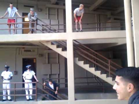 Military school students jump 4 floors onto a pile of inflatable mattresses