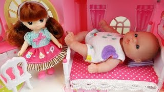 Baby doll and Two stoy house toys - Bath and Sleep in Bed