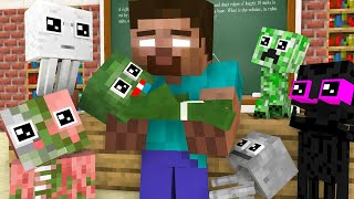 Herobrine play with Baby Monster - Minecraft Animation