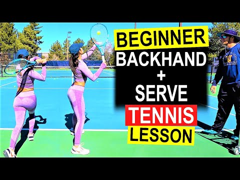 First Beginner Tennis Lesson | Backhand and Serve Technique with Chelsea