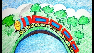 How to DRAW Scenery of train, THOMAS & FRIENDS TRAIN Coloring Pages HIRO Train VIDEO FOR KIDS