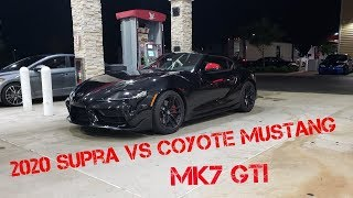 2020 Toyota Supra VS Gutted MK7 GTI & Coyote Mustang! Street Racing Action!