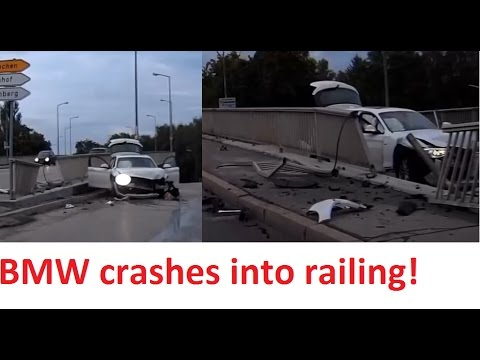 BMW 1 series Crash Germany, Airbags opened - Stupid Driver - Drift fail 2017 - Dashcam
