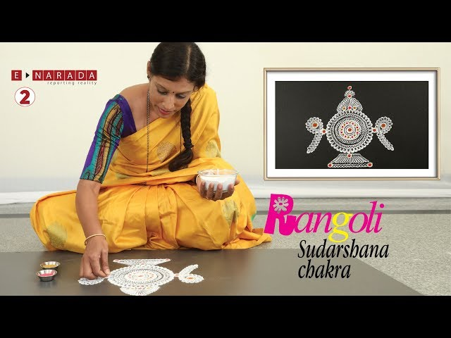 easy rangoli designs for beginners | Sudarshan Chakra | finger rangoli making | Kolam