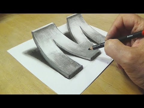 How to Draw 3D Letter M - Drawing with pencil - By Vamos