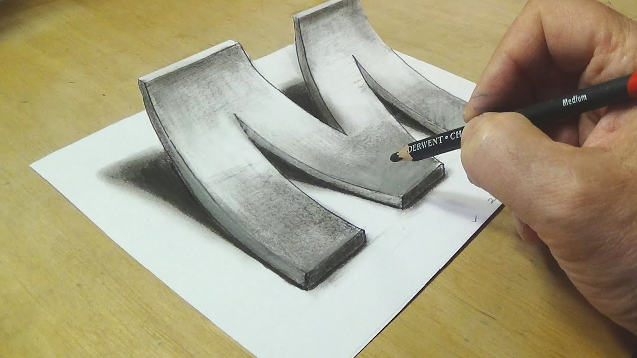 How to Draw 3D Letter M - Drawing with pencil - Awesome ...