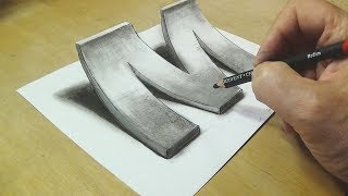 How to Draw 3D Letter M - Drawing with pencil - By Vamos thumbnail