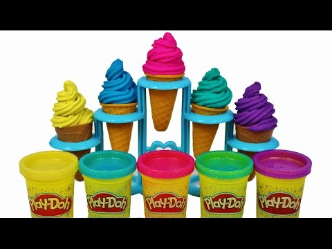 Thumbnail: Learn colors with glitter play doh soft cone ice cream for children learning for kids