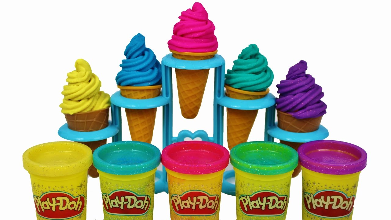 Learn colors with glitter play doh soft cone ice cream for children learning for kids