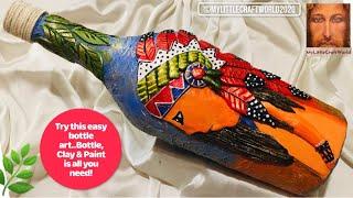Bottle art with Native American boy / wine bottle decoration ideas