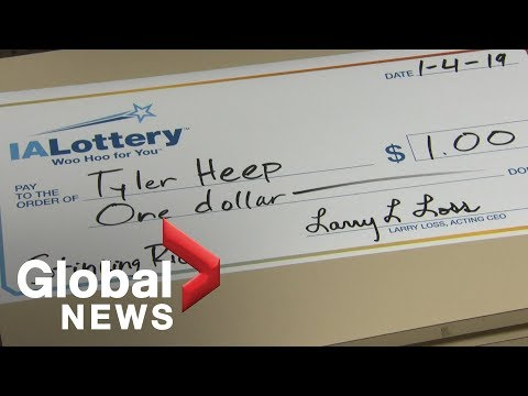 Iowa man wins $1 in lottery, demands comically large cheque