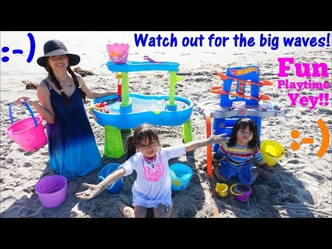Children's Water Table. Kids' Sand Table Playtime! Hot Wheels Cars Beach Playtime Fun! Toy Channel