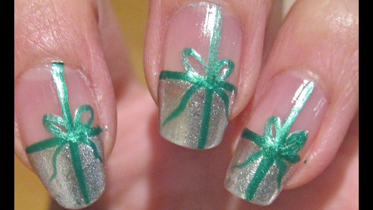 Christmas nails present nail tutorial youtube prinsesfo Choice Image