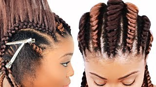 Tree Braids Cornrows FOR BEGINNERS!!!