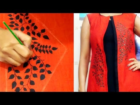 DIY : Convert plain fabric into Designer Wear | Hand Painted Designer Kurti