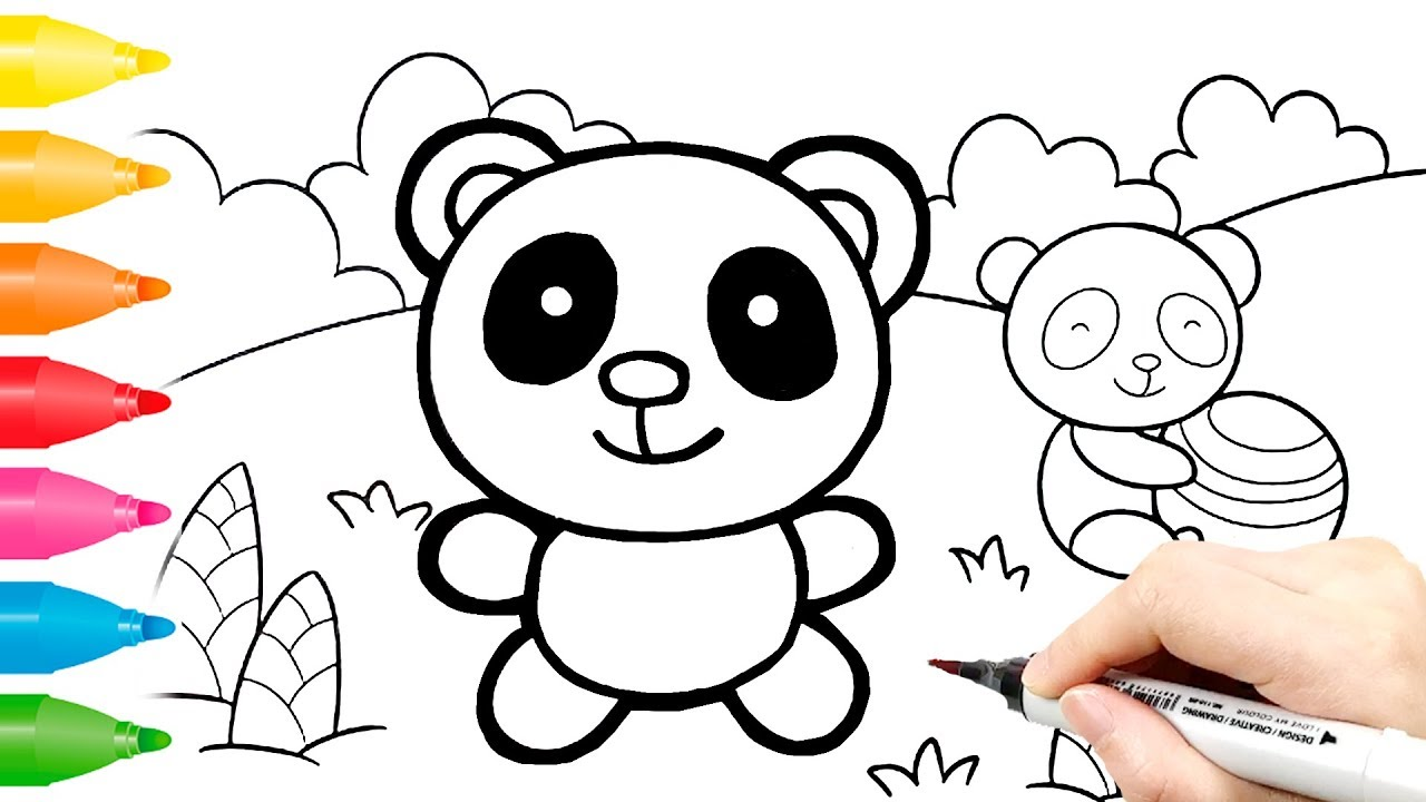 Panda Coloring Pages Easy Drawings For Kids Youtube