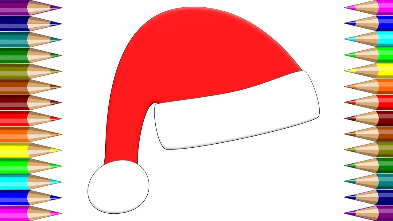 Christmas Hat Drawing.Drawing Christmas Hat How To Draw Santa Hats Learn Colors For Kids With Santa Claus Hats