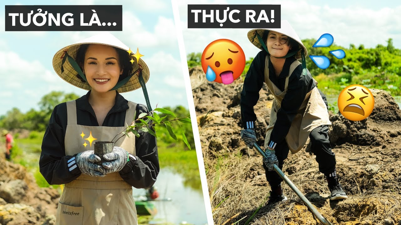 Lần đầu cô Giang lóng ngóng cuốc đất trồng cây!