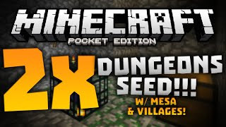EPIC DOUBLE DUNGEON SEED!!! - Exposed Dungeons At Spawn - Minecraft Pocket Edition