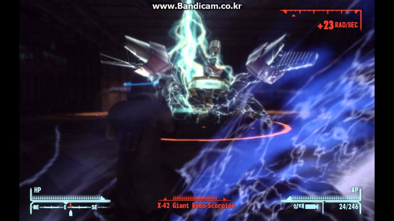 Fallout New Vegas X 42 Robot Scropion Sonic Emitter Kill Youtube
