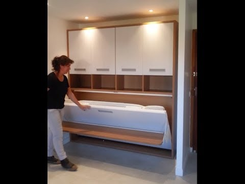 armoire lit escamotable avec bureau youtube. Black Bedroom Furniture Sets. Home Design Ideas