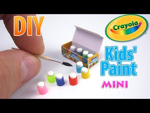 DIY Miniature Crayola 10 Count Paint Pots with Brush | DollHouse | No Polymer Clay!