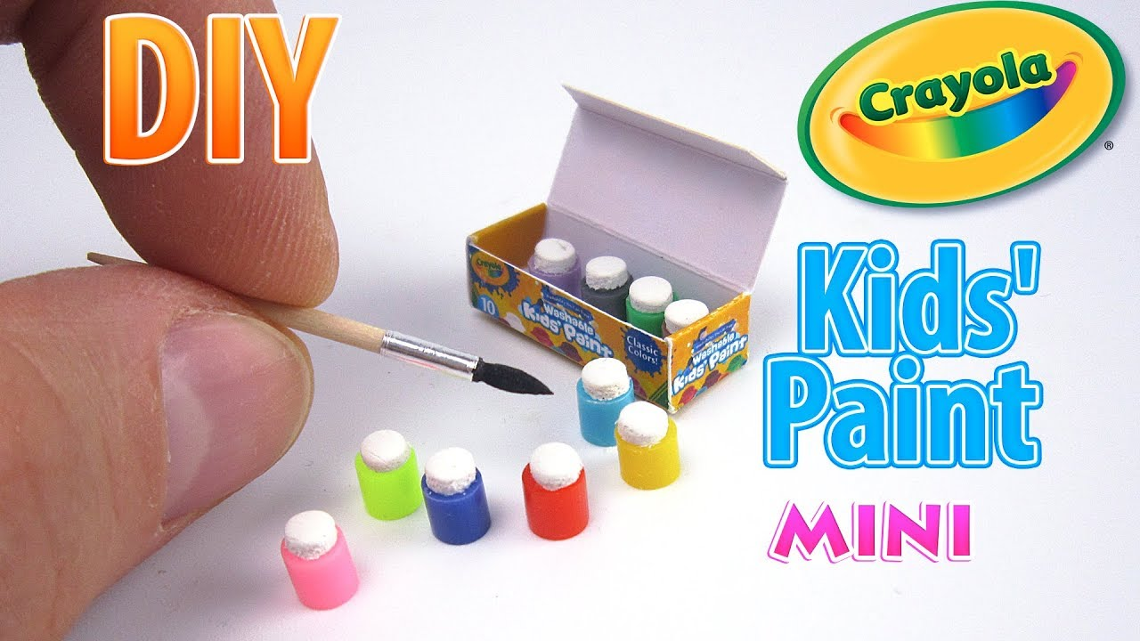 DIY Miniature Crayola 10 Count Paint Pots With Brush