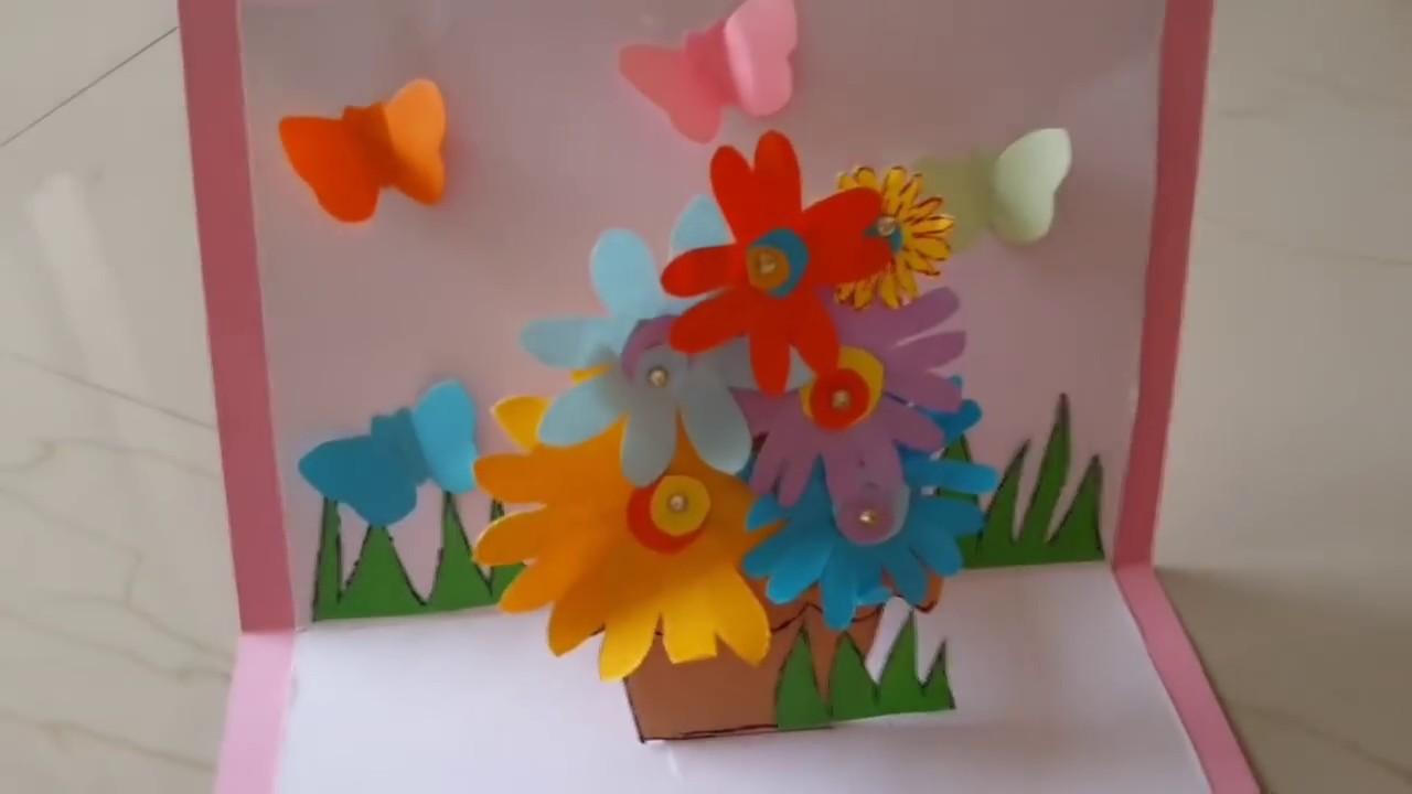 How To Make A Flower Basket Pop Up Card : Flower basket pop up card tutorial