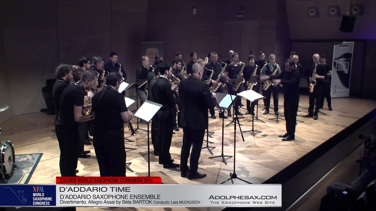 Divertimento, Allegro Assai by Bela Bartok   D´Addario Saxophone Ensemble   XVIII World Sax Congress