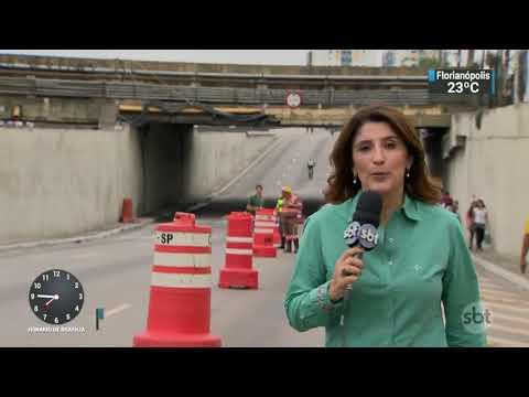 Bloco de concreto cai de viaduto e mata juíza em São Paulo | SBT Brasil (20/11/17)