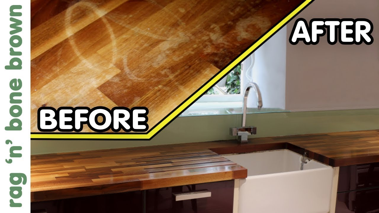 How To Remove Stains Re Finish Oil Wooden Kitchen Counter Worktops