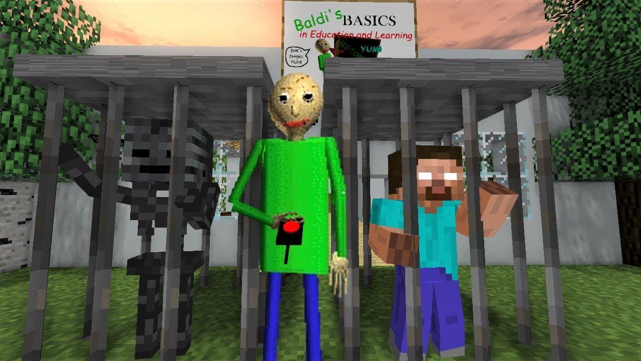 Monster School : HEROBRINE PRANKS BALDI - Horror Minecraft Animation
