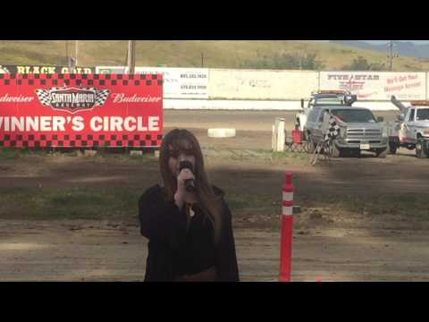 Karly Singing at The Santa Maria Speedway
