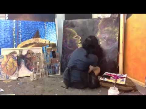 """Acrylic Space Painting Timelapse 