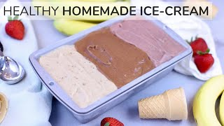 Ice Cream Smoothie - HOMEMADE ICE CREAM RECIPE | easy, healthy neapolitan ice cream