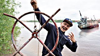 Магнитная рыбалка на месте где затонул корабль с помощью поискового магнита