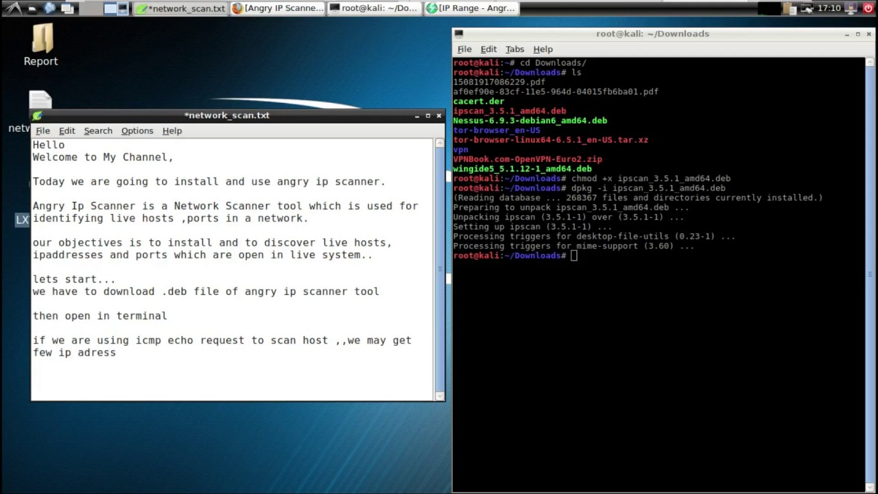 Network Scanning in Kali Linux using Angry IP scanner