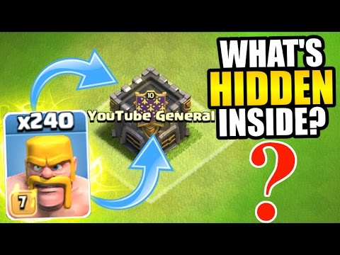Clash Of Clans - 240 BARBARIANS vs HIDDEN TROOP IN CLAN CASTLE!