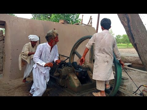 Best Starting Desi old black engine Amazing technology With Working Chaki Ata|Ruston Hornsby| thumbnail