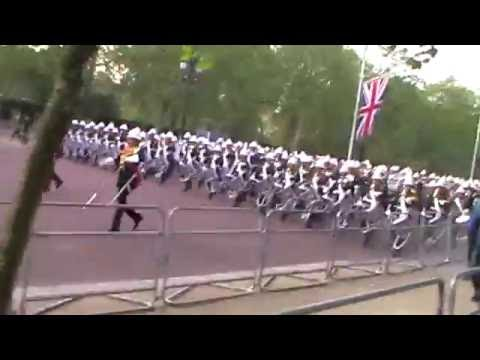 Massed Bands of HM Royal Marines march down The Mall after Beating Retreat - May 2016