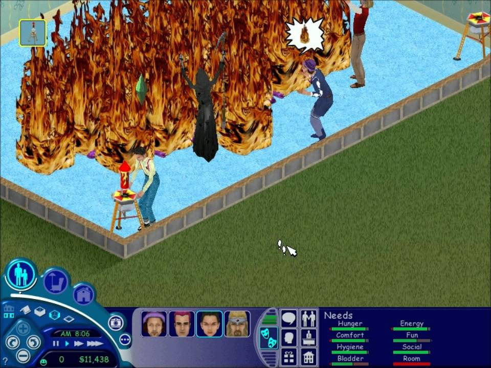 the sims 1 the grim reaper watches fireworks youtube. Black Bedroom Furniture Sets. Home Design Ideas