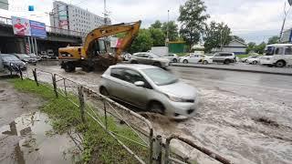 В Новосибирске затопило площадь Труда