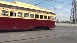 PCC STREETCAR 4549 AT SPEED QUEEN AND DON RIVER JUNE 2015