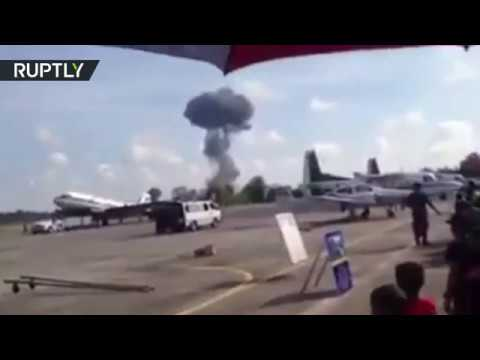 Moment fighter jet crashes at Children's Day airshow in Thailand