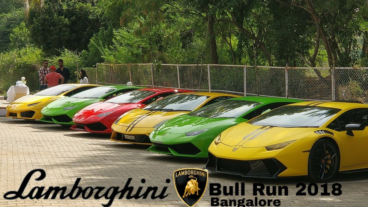 Lamborghini Bull Run 2018 Bangalore Super Cars 4th Anniversary